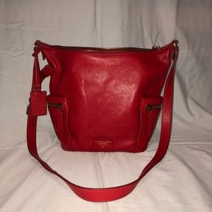 Red Fossil Leather handbag